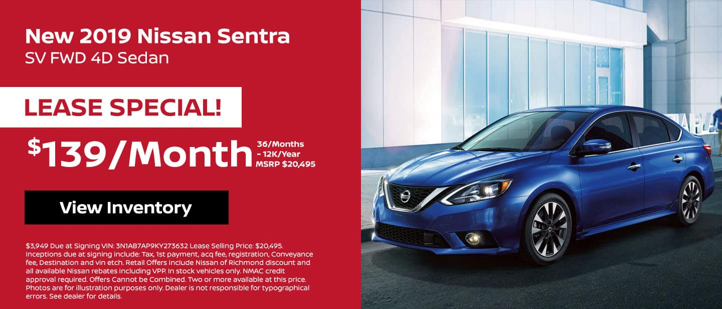 2019 Nissan Sentra Lease Special