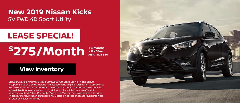 2019 Nissan Kicks Lease Special