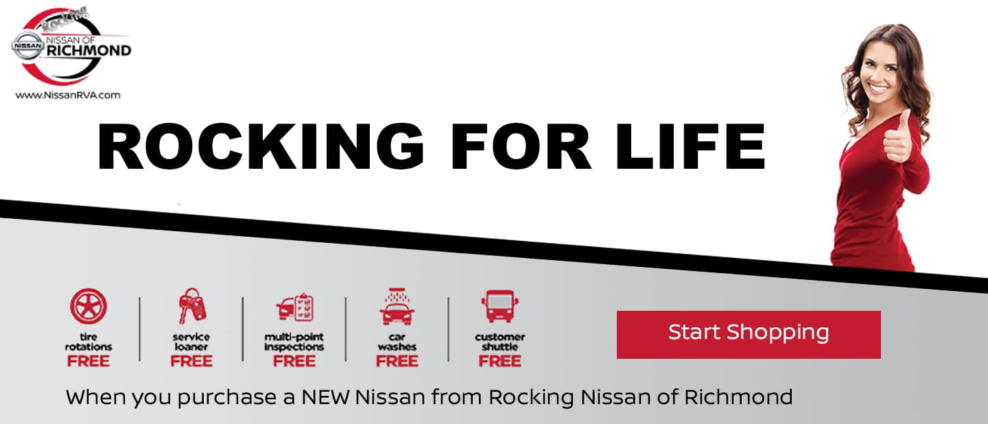 Rocking Nissan Advantage - Free Tire Rotations, Service Loaner, Multi-Point Inspections, Car Washes and Shuttle when you buy a new Nissan