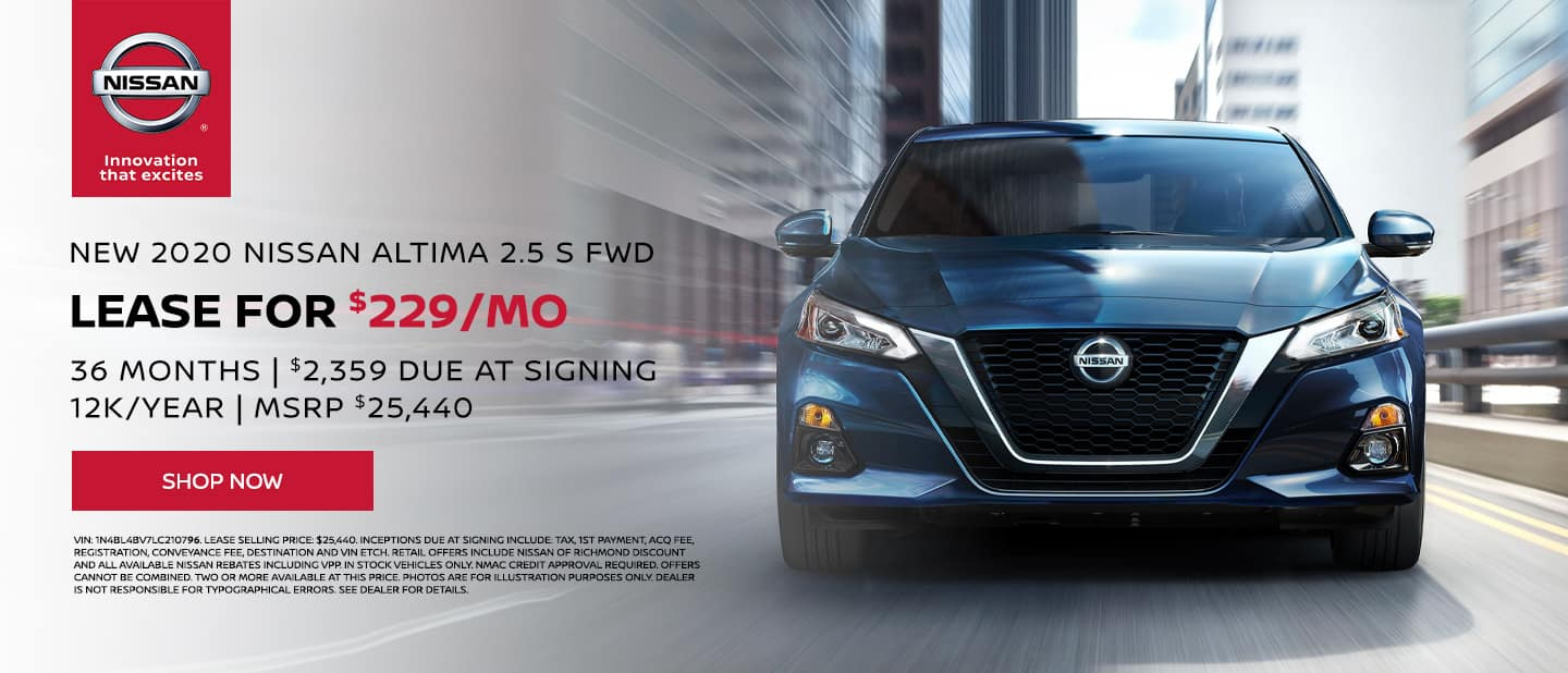 2020 Nissan Altima S Lease Special. $229/mo, 36 mo, 12k/yr