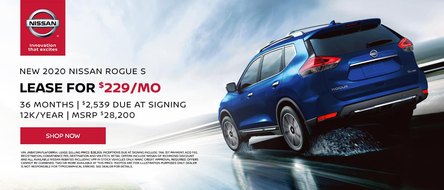 2020 Nissan Rogue S AWD Lease Special $229/mo, 36 mo, 12k/yr