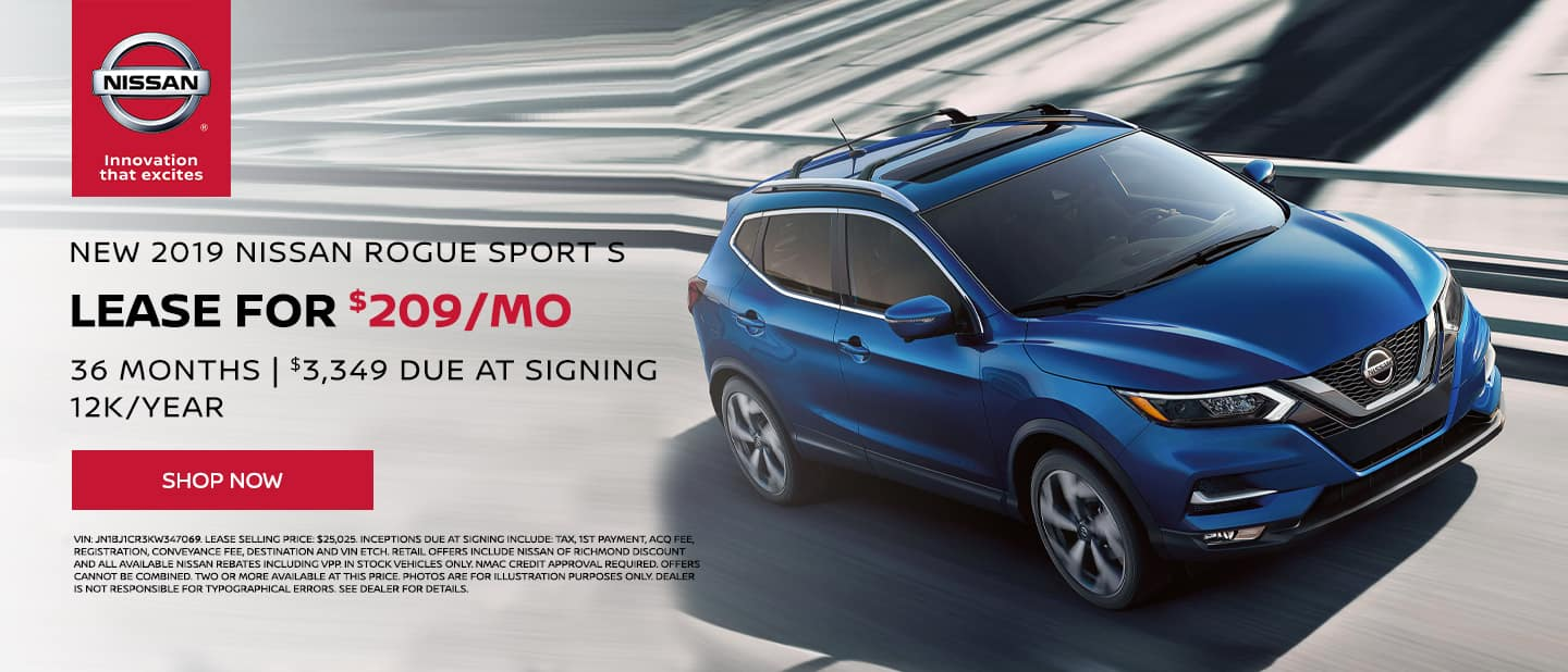2019, Nissan, Rogue Sport Lease Special $209/mo, 36 mo, 12k/yr