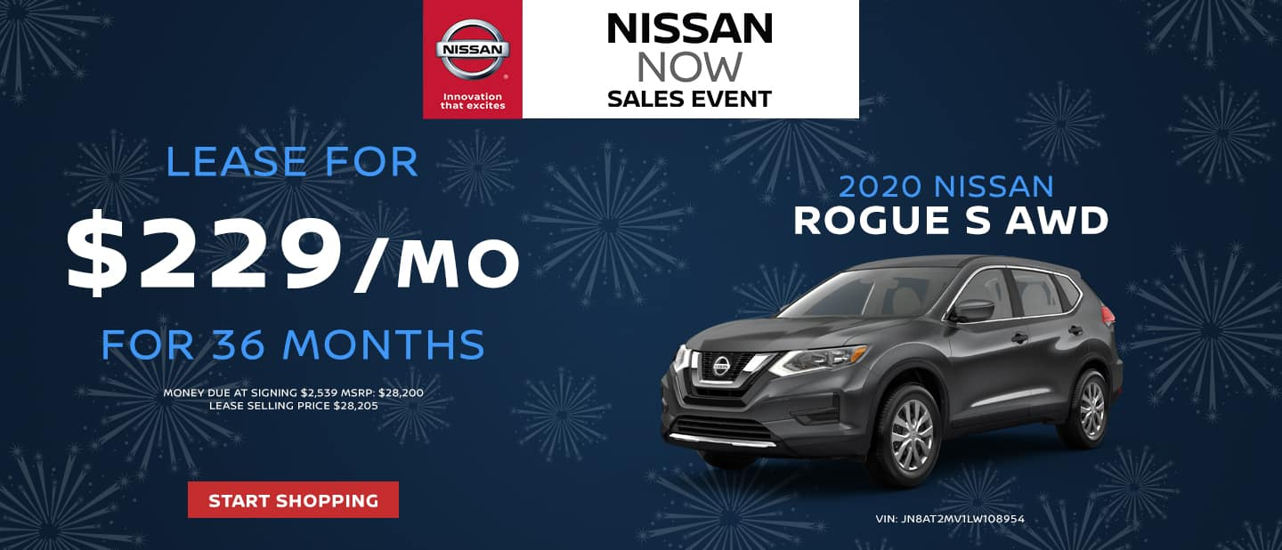 2020 Nissan Rogue S AWD - Lease for $229/mo for 36 months. $2,539 due at signing