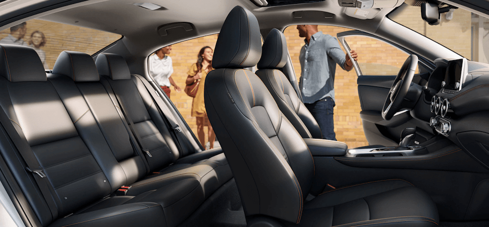 2020 Nissan Sentra interior seating with doors open
