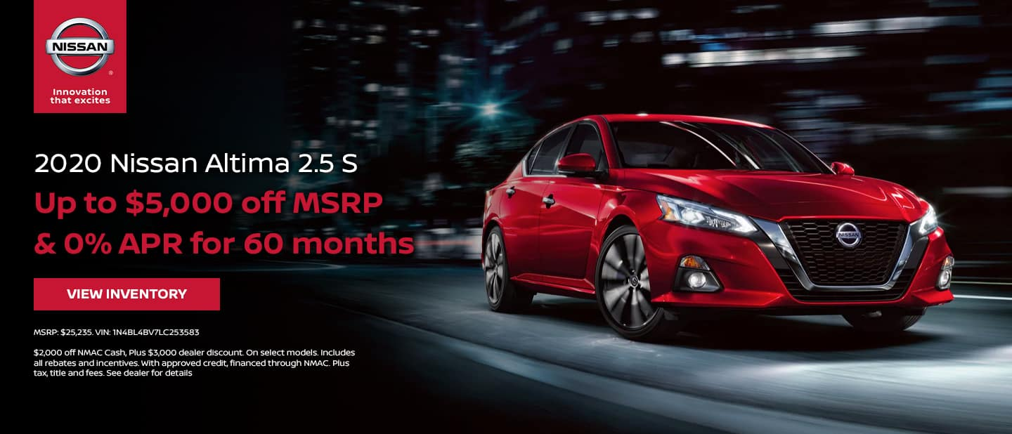 Nissan Altima - Up to $5,000 off MSRP & 0% APR for 60 months