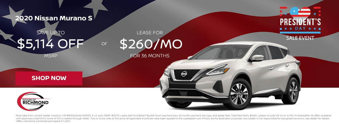 2020 Nissan Murano S Save up to $5,114 off MSRP or Lease for $260/mo for 36 mos