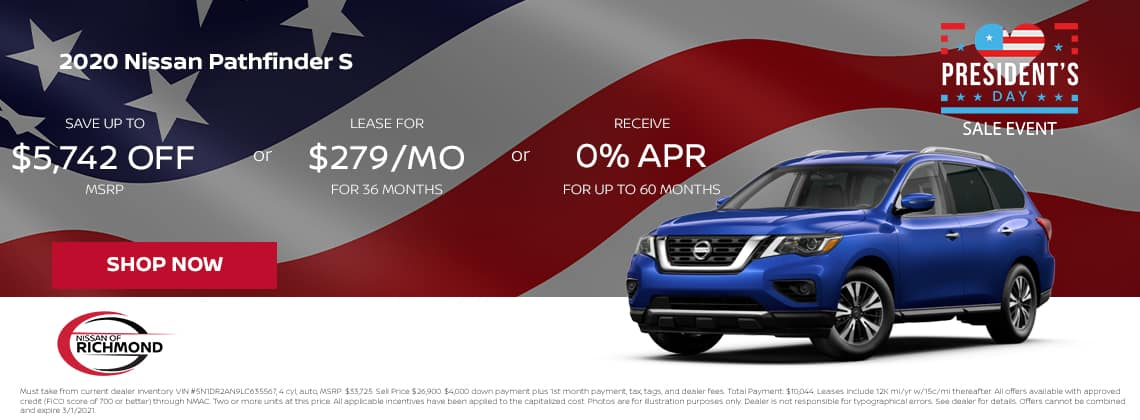2020 Nissan Pathfinder S Save up to $5,742 off MSRP or Lease or $279/mo for 36 mos or 0% APR Up to 60 months