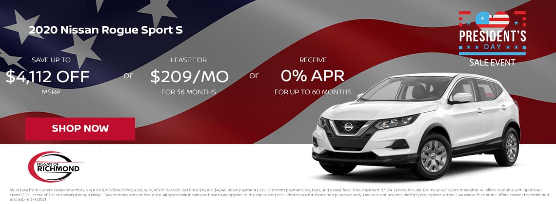 2020 Nissan Rogue Sport S Save up to $4,112 of MSRP or Lease or $209/mo for 36 mos or 0% APR up to 60 months