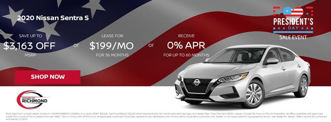 2020 Nissan Sentra S lease Save up to $3,163 off MSRP or Lease for $199/mo for 36 mos or 0% APR up to 60 months