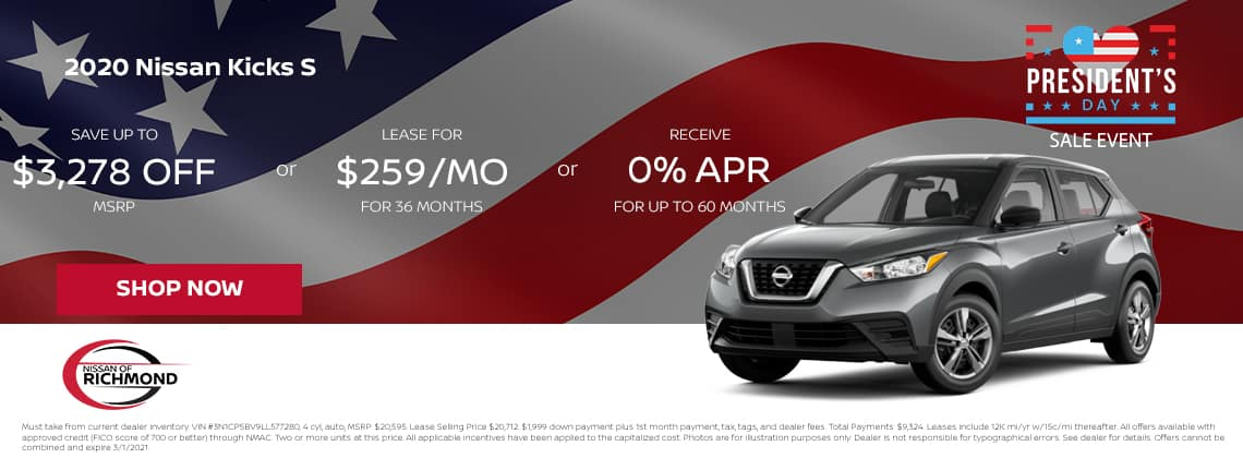 2020 Nissan Kicks S Save up to $3,278 off MSRP or Lease for $259/mo for 36 mos or 0% APR for up to 60 months