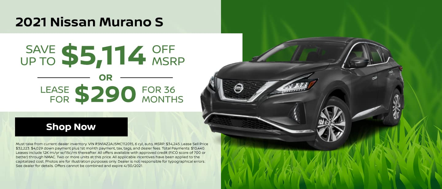 2021 Nissan Murano S Save up to $5,114 off MSRP or Lease for $290/mo for 36 mos