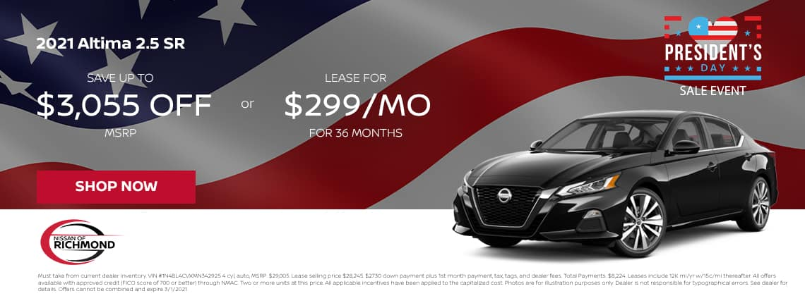2021 Altima 2.5 SR Save up to $3,055 off MSRP or lease for $229/mo for 36 mos