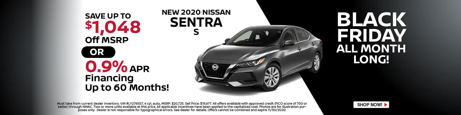2020 Nissan Sentra - Save $1,048 or 0.9% APR