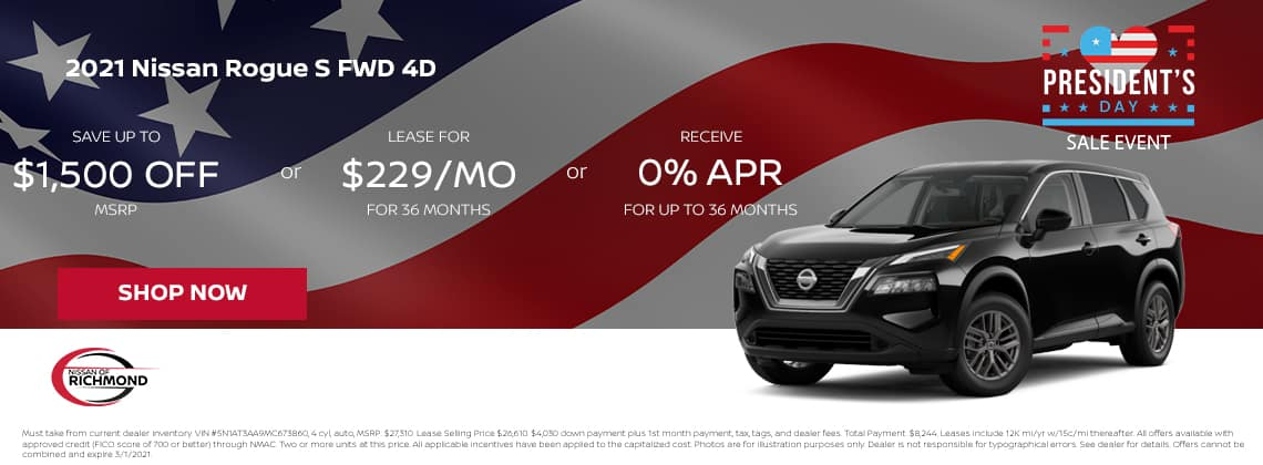 2021 Nissan Rogue S FWD 4D Save up to $1,500 of MSRP or Lease or $229/mo for 36 mos or 0% APR up to 36 months