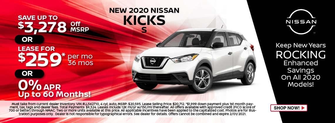 2020 Nissan Kicks S lease $259/mo