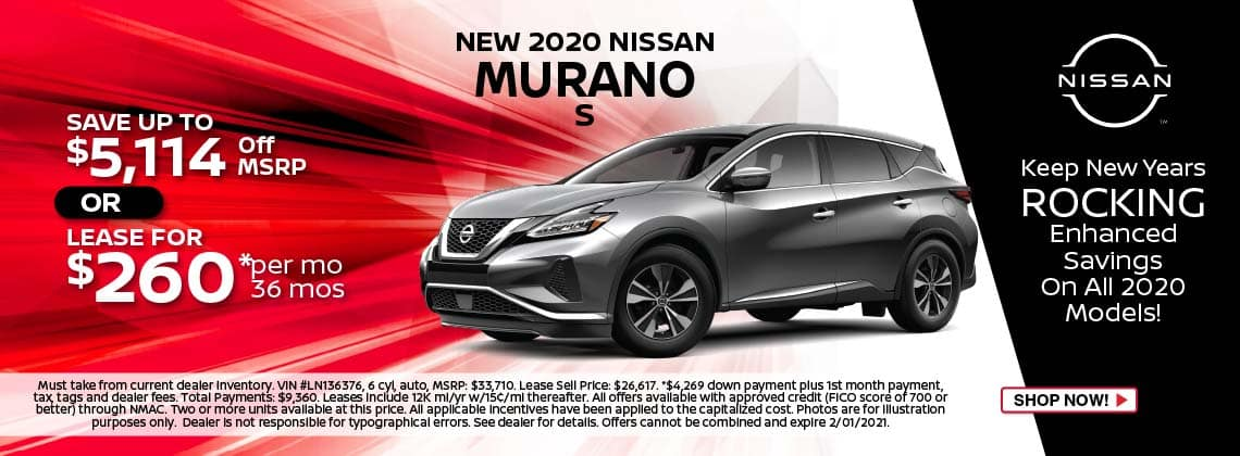 2020 Nissan Murano S lease $260/mo