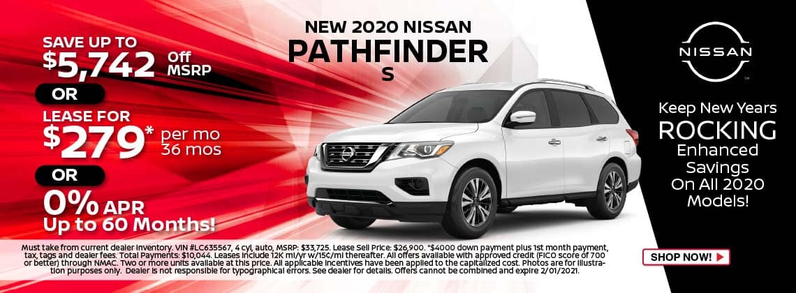 2020 Nissan Pathfinder S lease $279/mo