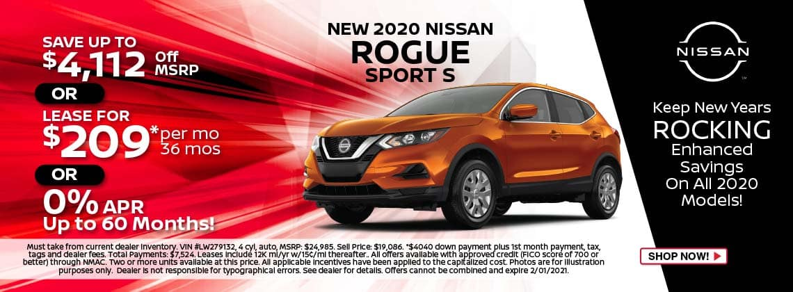 2020 Nissan Rogue Sport S lease $209/mo