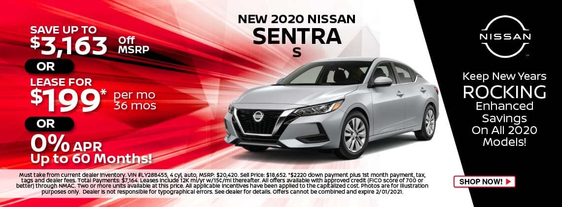 2020 Nissan Sentra S lease $199/mo