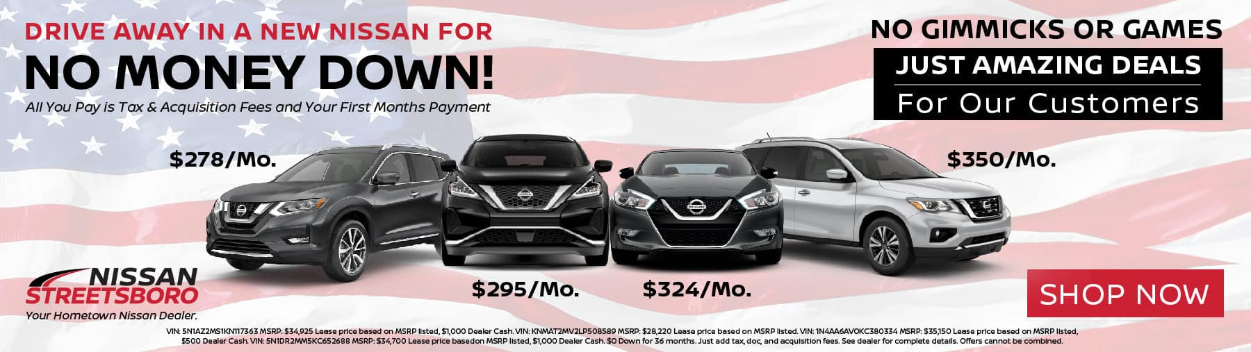 No Money Down on New Nissan