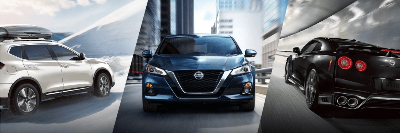 2021 Nissan Model Line Up image with Rogue, Altima, and GT-R