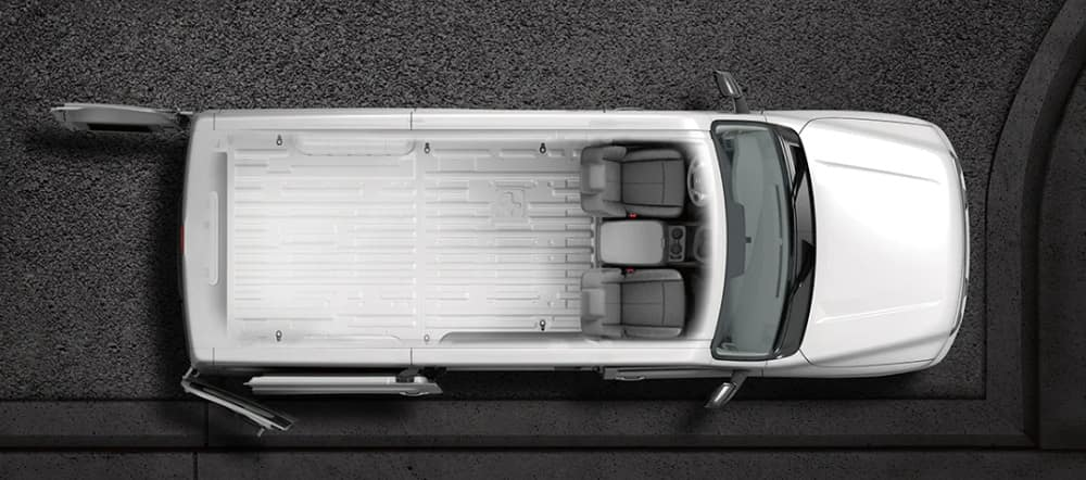 Nissan NV Cargo Van Dimensions View From Above with Cutaway effect
