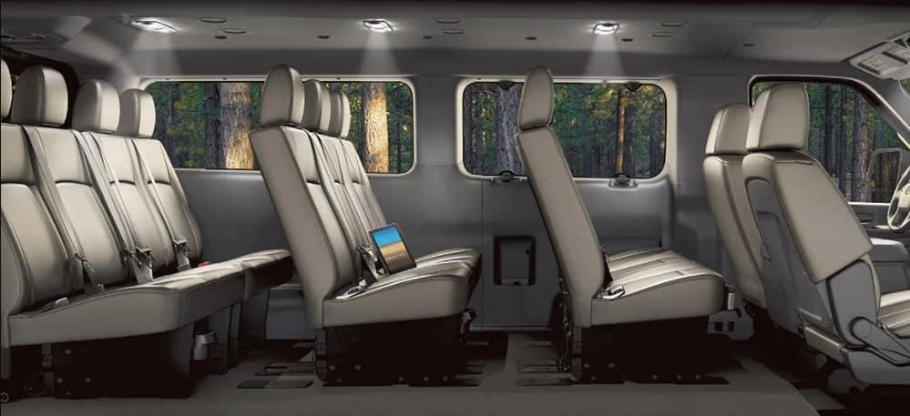 2021 Nissan NV Passenger Van Cutaway Image Showing Seating Configurations and Spacing