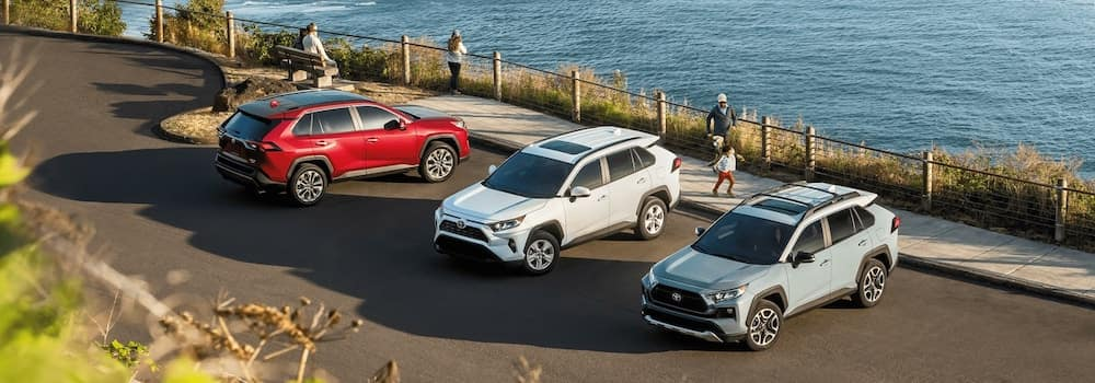 2020 RAV4 models parked by the water