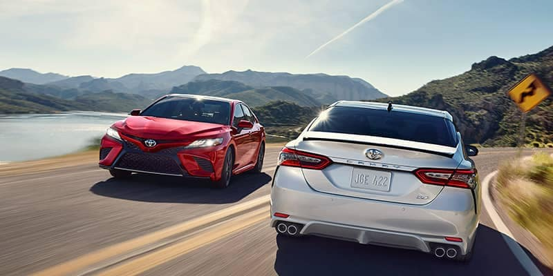 2019 Toyota Camrys Passing Each Other