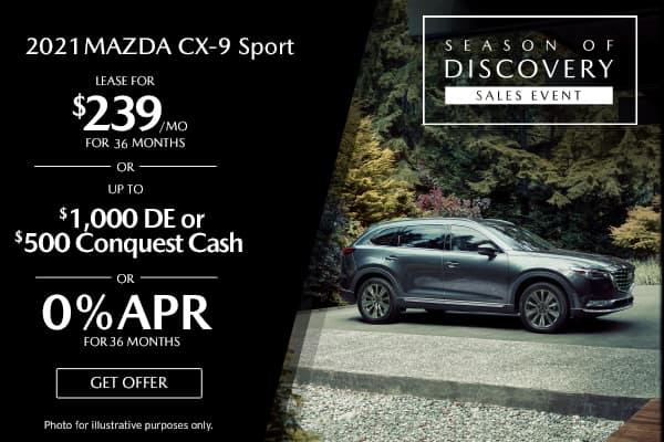 <center>New 2021 Mazda CX-9 Sport</center>
