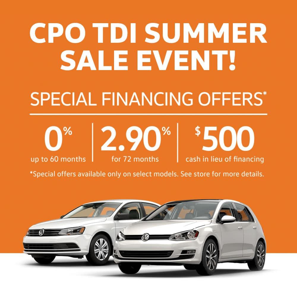 CPO TDI Summer Sale event