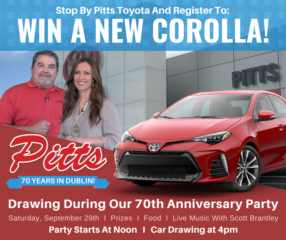 Good The 70th Anniversary Giveaway Is Sponsored By Pitts Toyota. Promotion Is  Subject To All Federal, State And Local Laws. Void Where Prohibited By Law.
