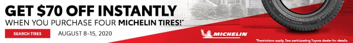 Get $70 off instantly when you purchase 4 Michelin tires