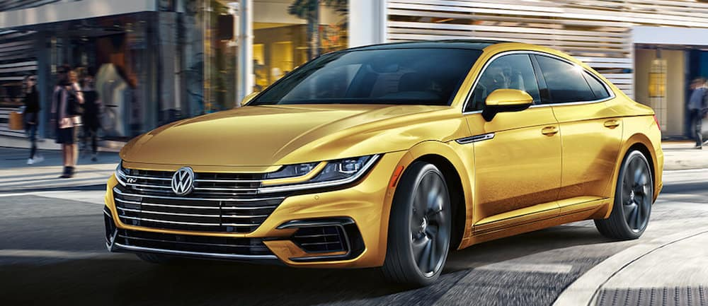 A 2019 VW Arteon R-Line driving in a city