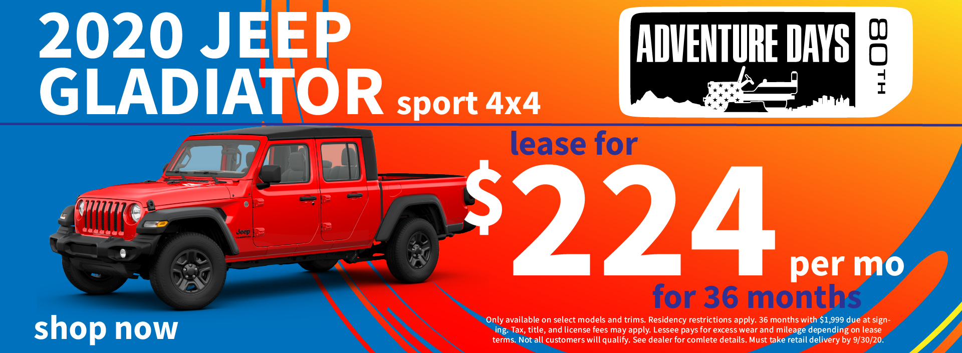 2020 Jeep Gladiator Lease Special