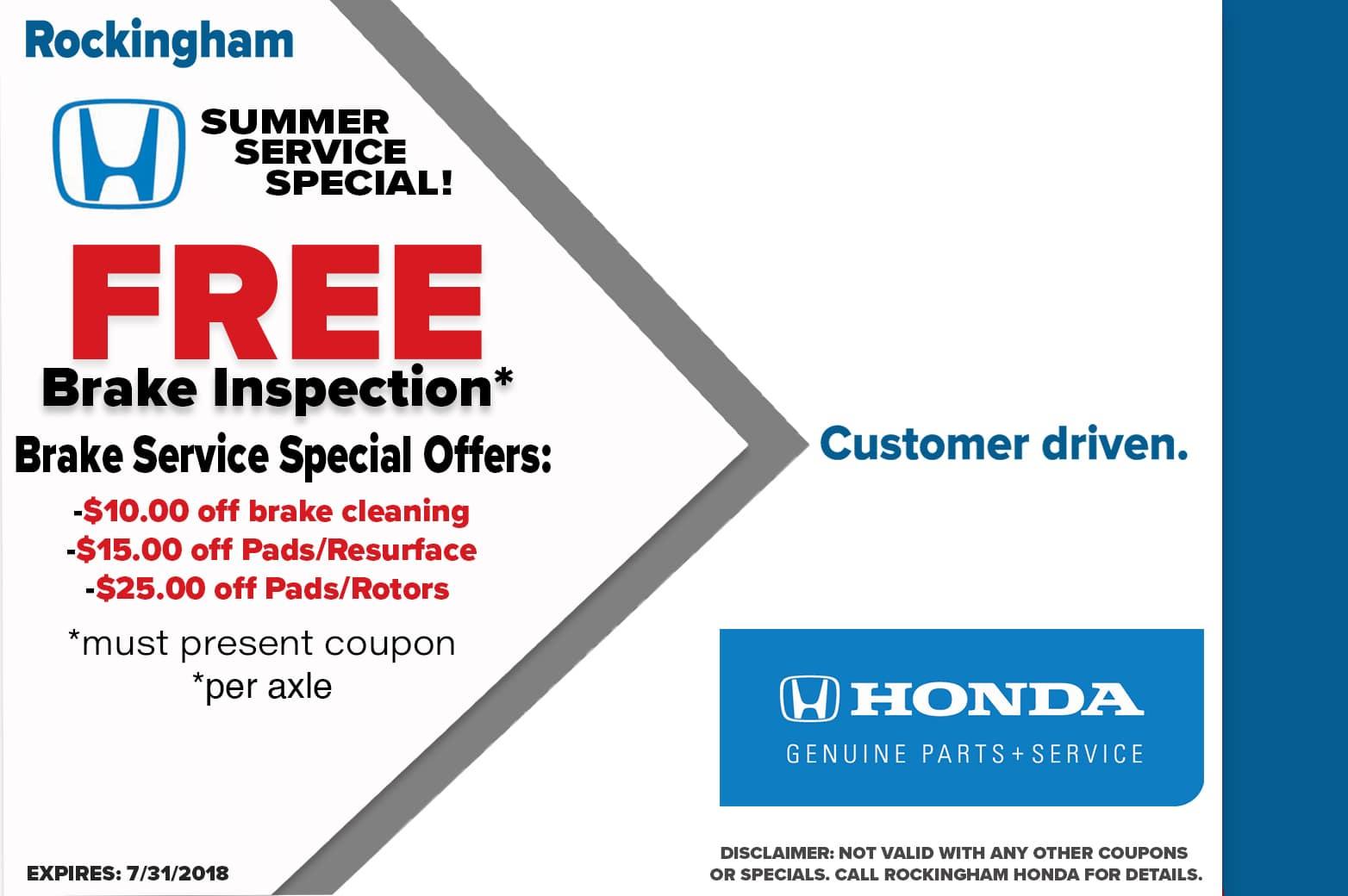 Auto service specials coupons in salem rockingham honda for Honda brake service coupons