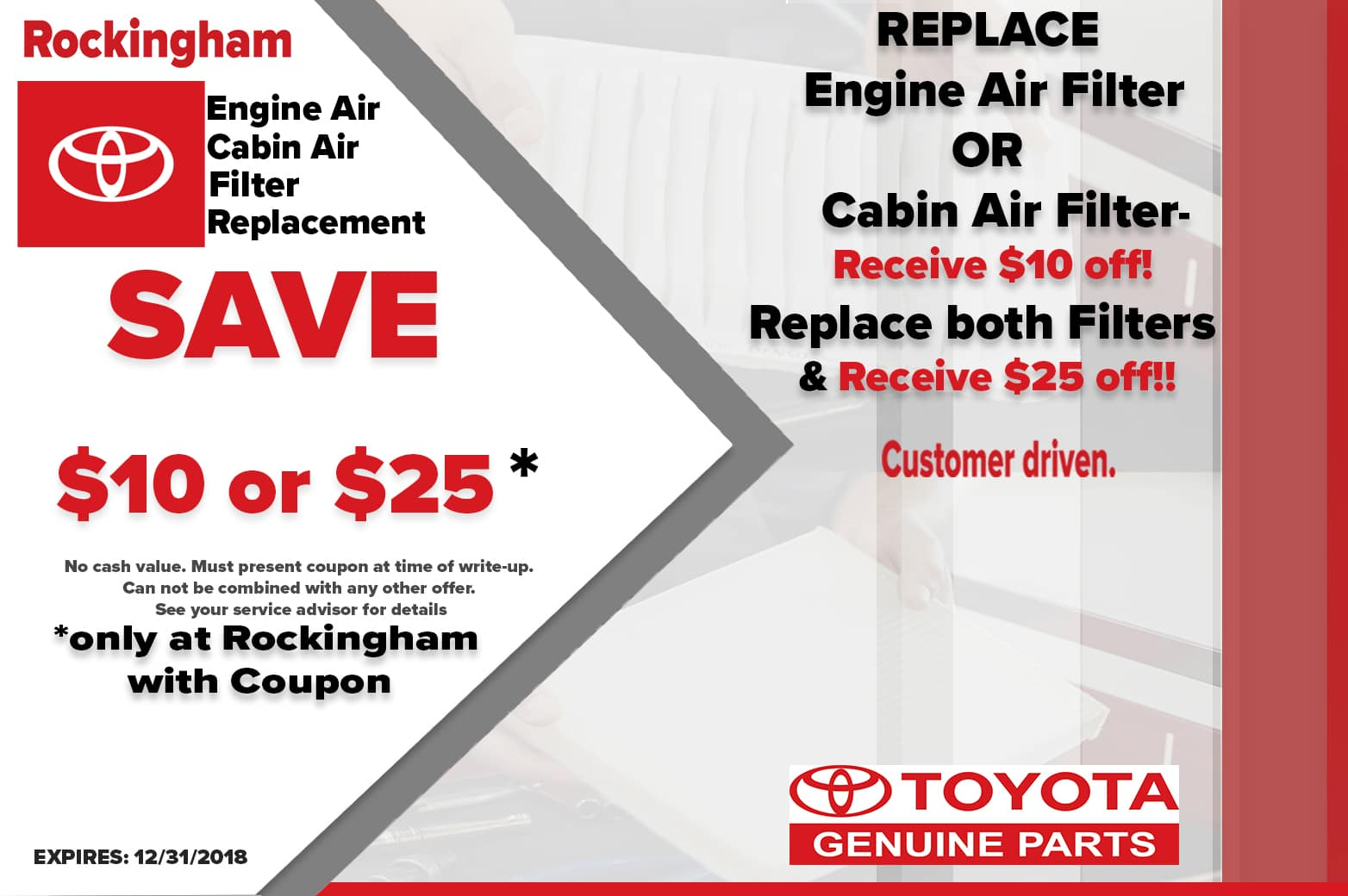 ENGINE AIR AND CABIN AIR FILTER SPECIAL