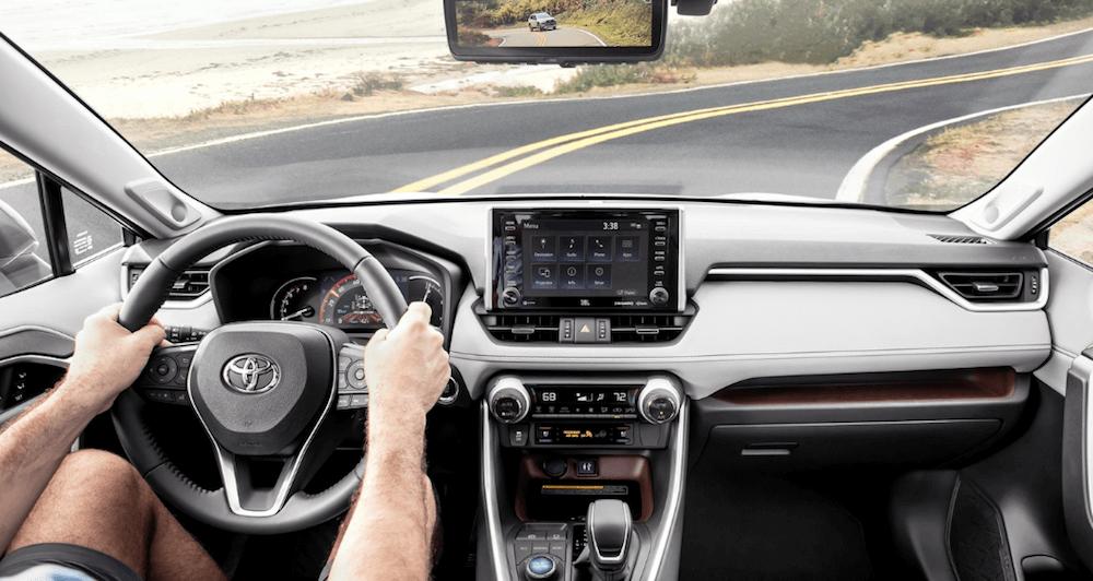 2019 Toyota RAV4 interior with steering wheel