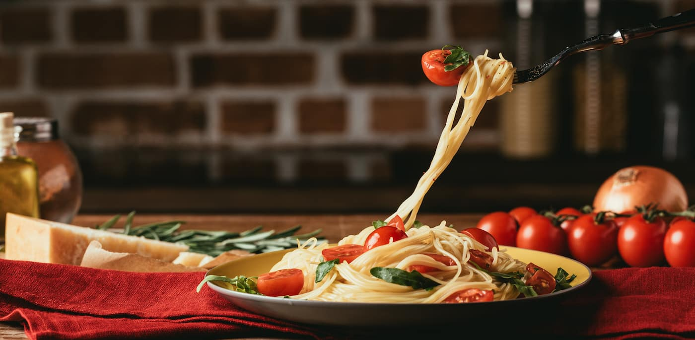 Pasta dish at an Italian restaurant