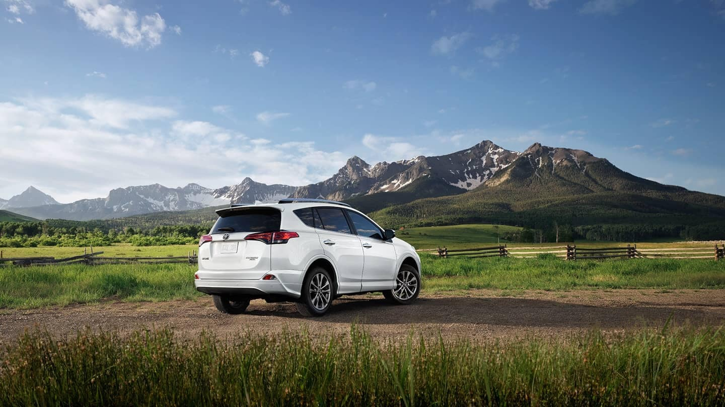 2018 Toyota RAV4 parked in front of mountains