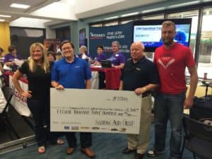 Chip and Joe Sheridan donating check to Members of Nemours Foundation in 2014