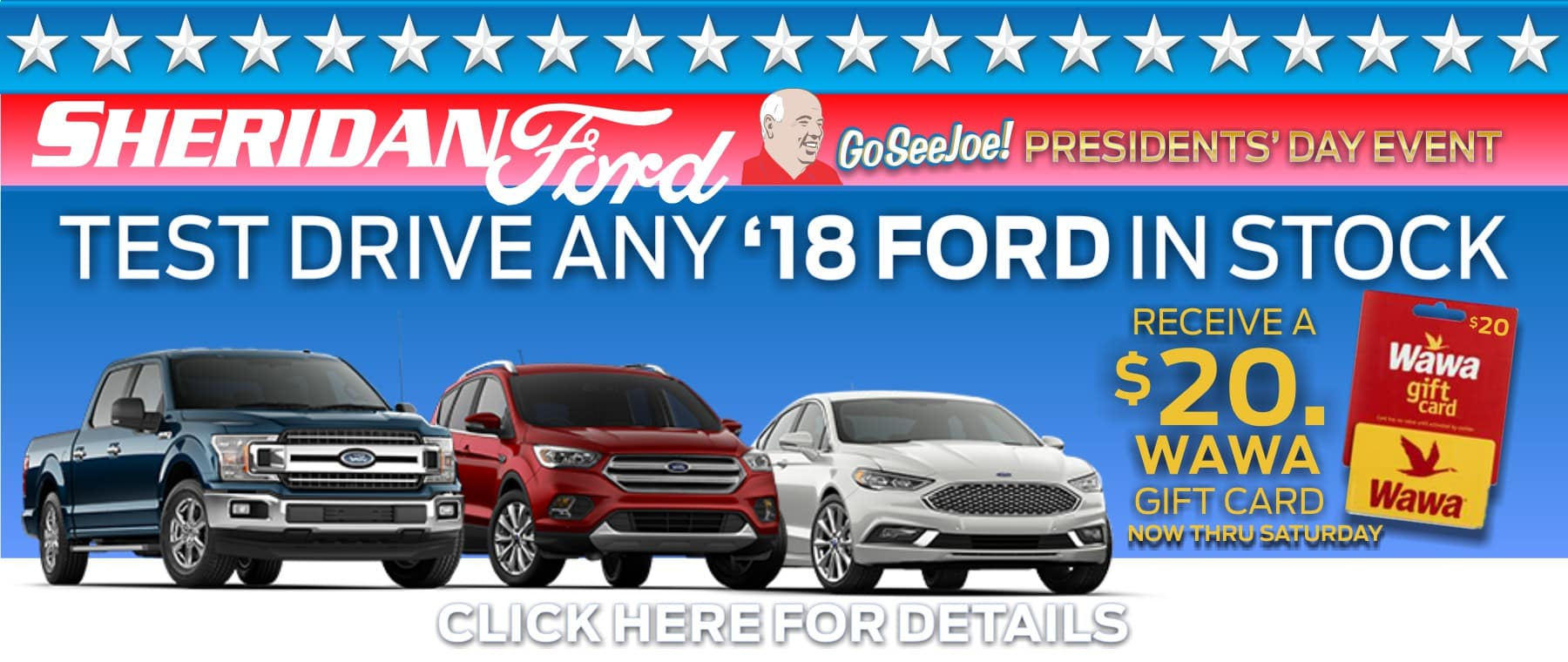 Earn a $25 gift card for test driving any 2018 Ford In-Stock!