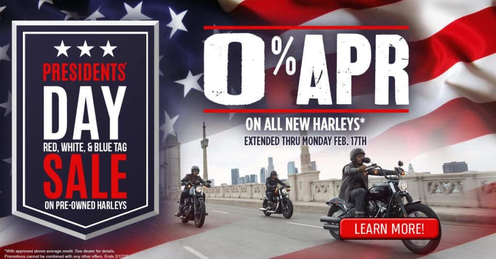 0% APR or Presidents' Day Tag Sale on Pre-Owned