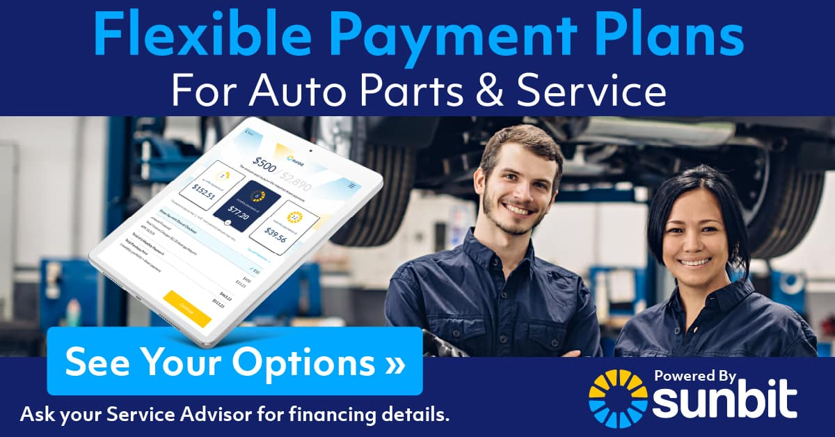 Sunbit Flexible Payment Plans for Auto Parts & Service