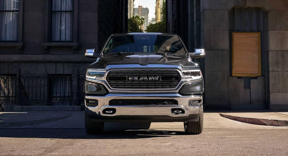 2019 Ram 1500 drives down a city alley