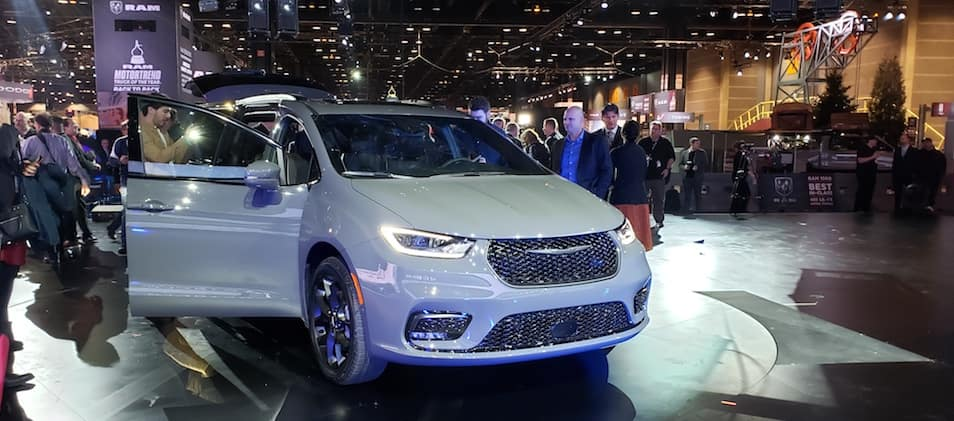 A 2021 Chrysler Pacifica on display at the Chicago Auto Show