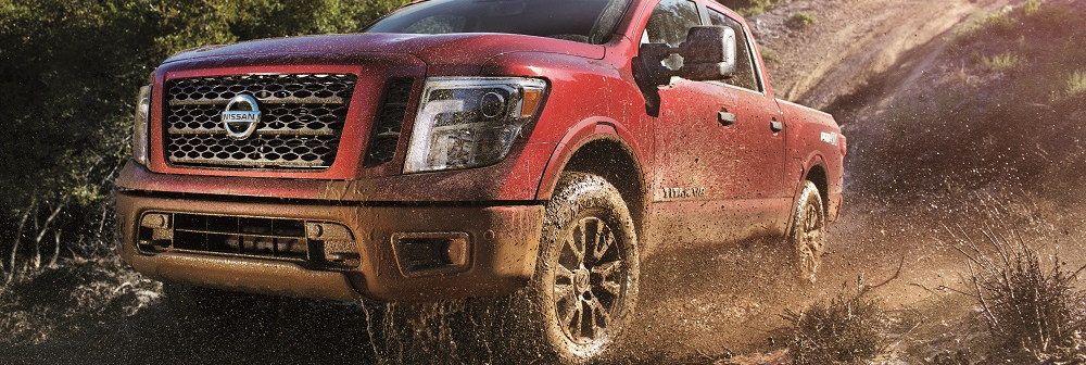 Red 2019 Nissan Titan Off-Roading Rhode Island