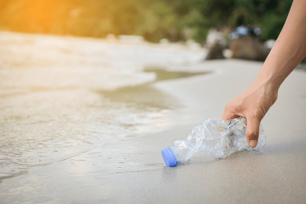 Cleaning Up Plastic at Beach