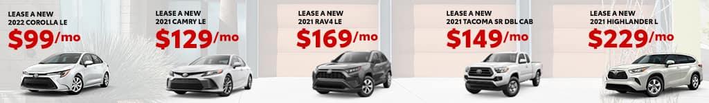 New 2021 Toyota Corolla, Camry, Highlander, Tacoma, RAV4