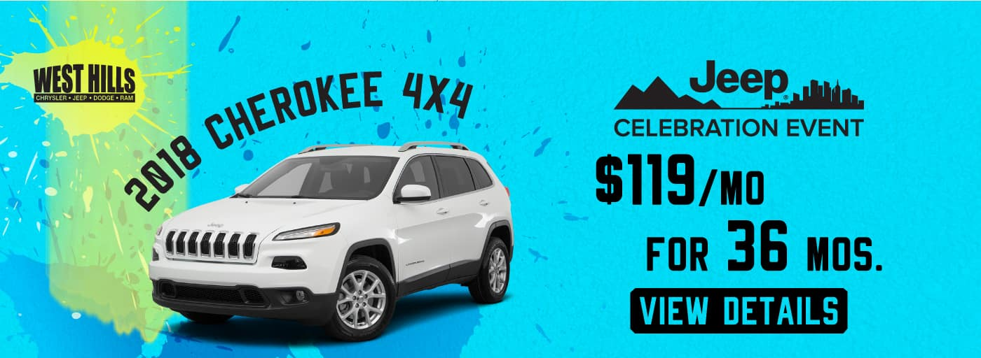 2018 Jeep Cherokee 4x4  $119/mo. For 36 mos.*